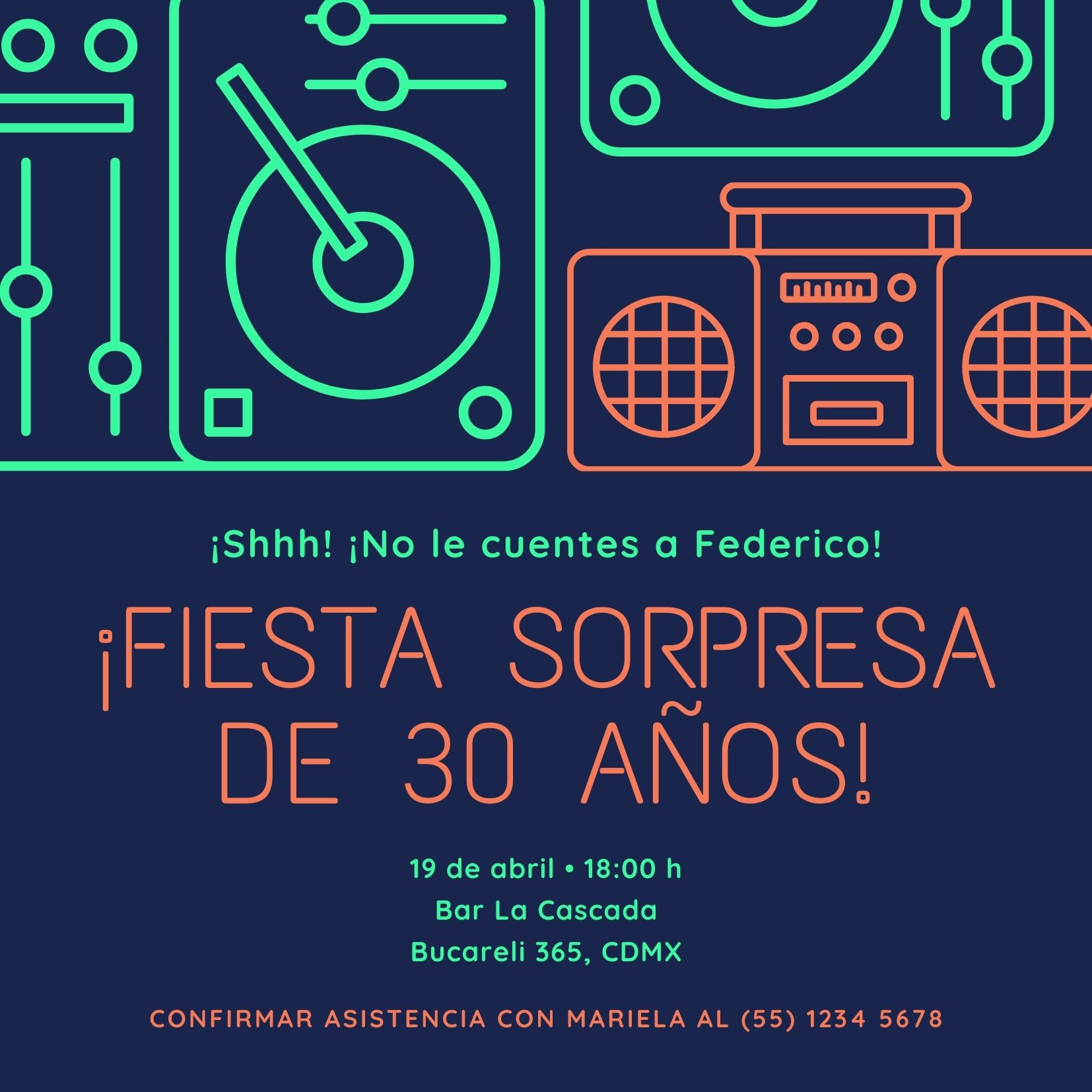 Neón Música Fiesta Sorpresa Invitación