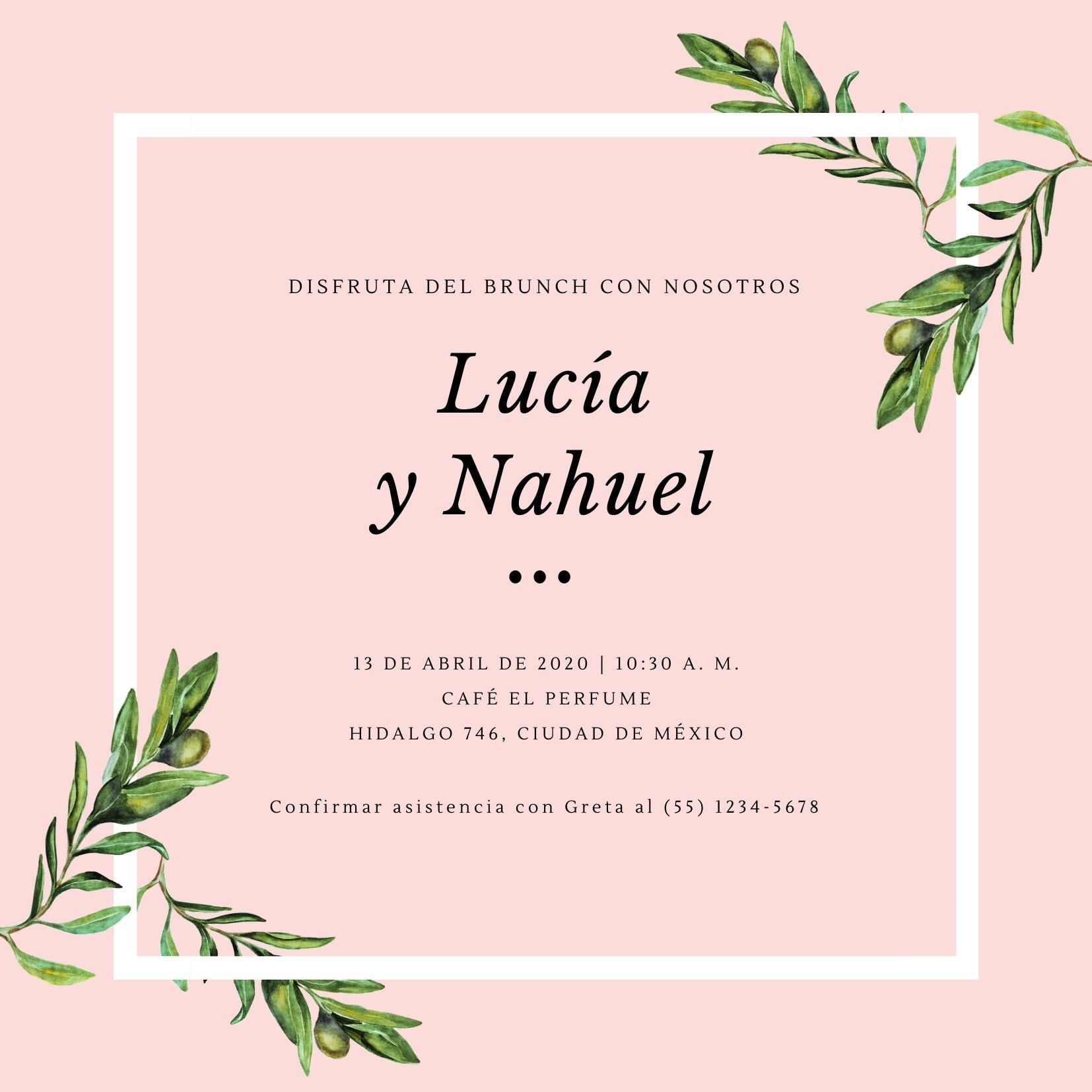 Rosa Verde Oliva Boda Brunch Invitación