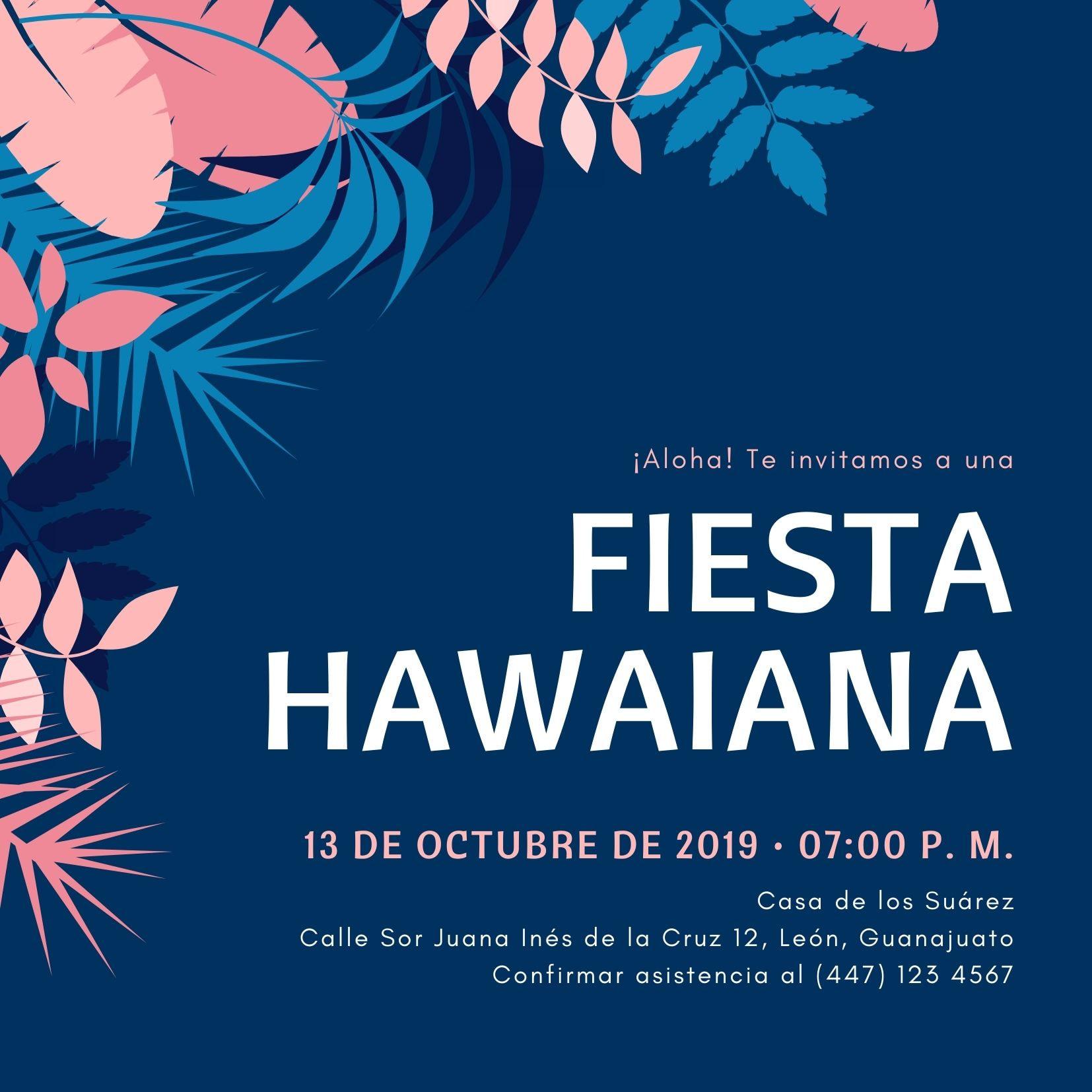 Azul Tropical Hojas Hawaiana Invitación