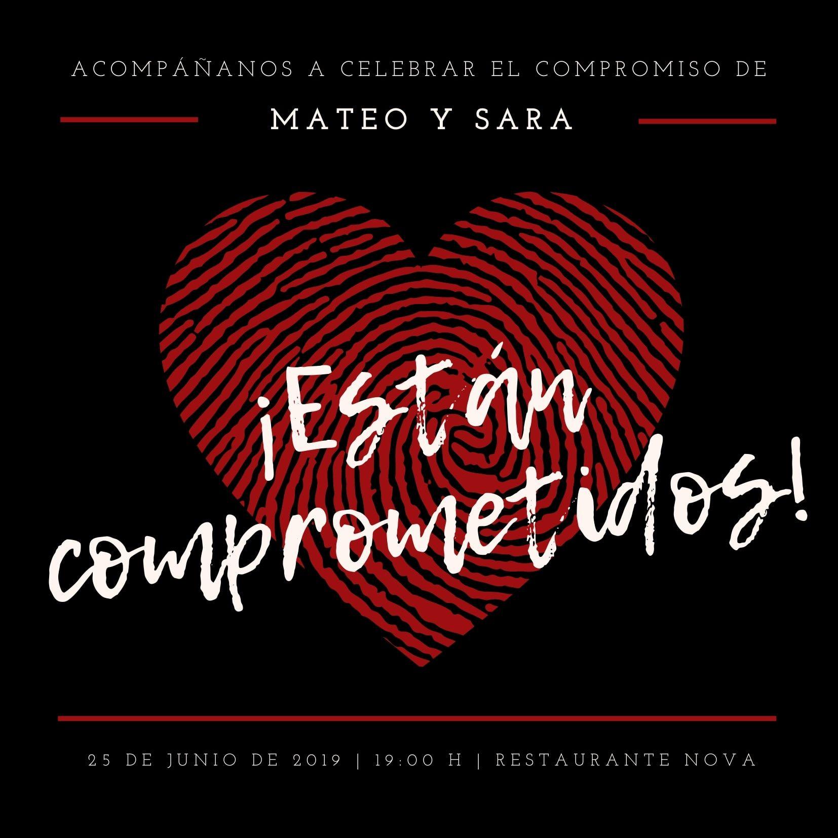 Corazón Huella Digital Fiesta de Compromiso Invitación