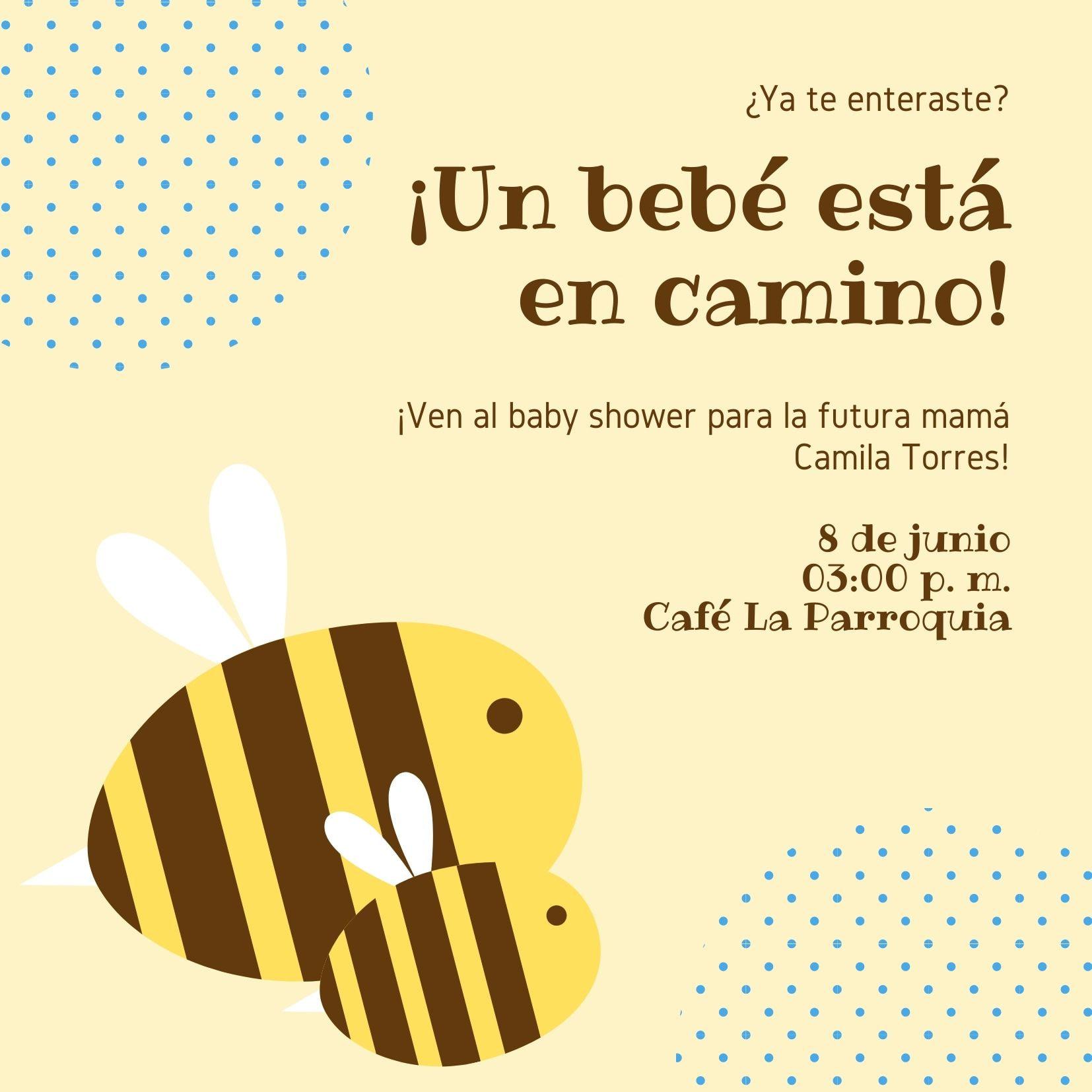 Amarillo Ilustrado Abeja Baby Shower Invitación