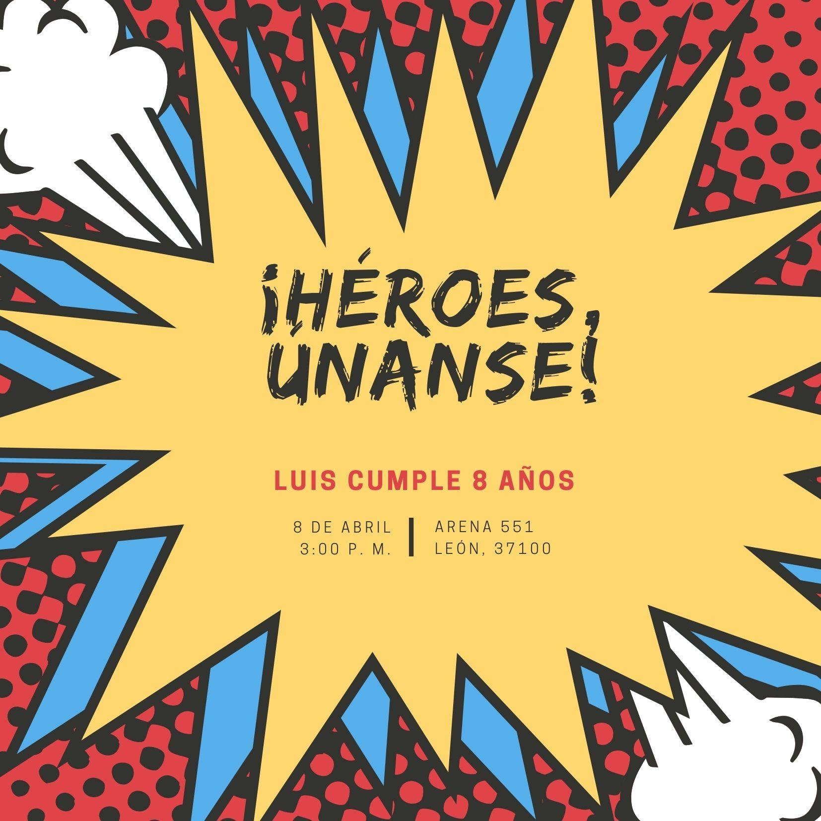 Rojo Amarillo Azul Burbuja de Historieta Superhéroe Invitación