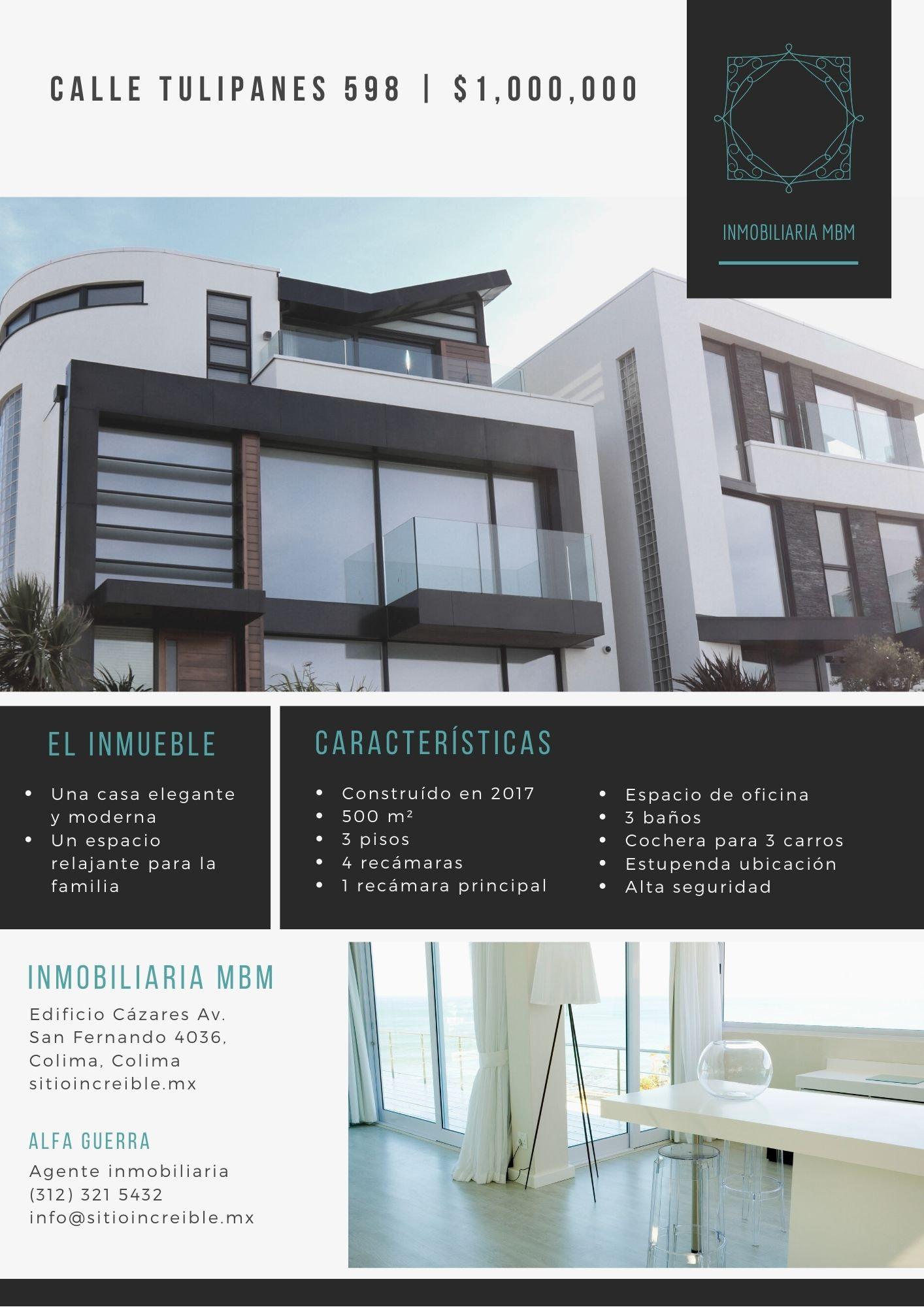 Moderno Casa Bienes Raíces Volante