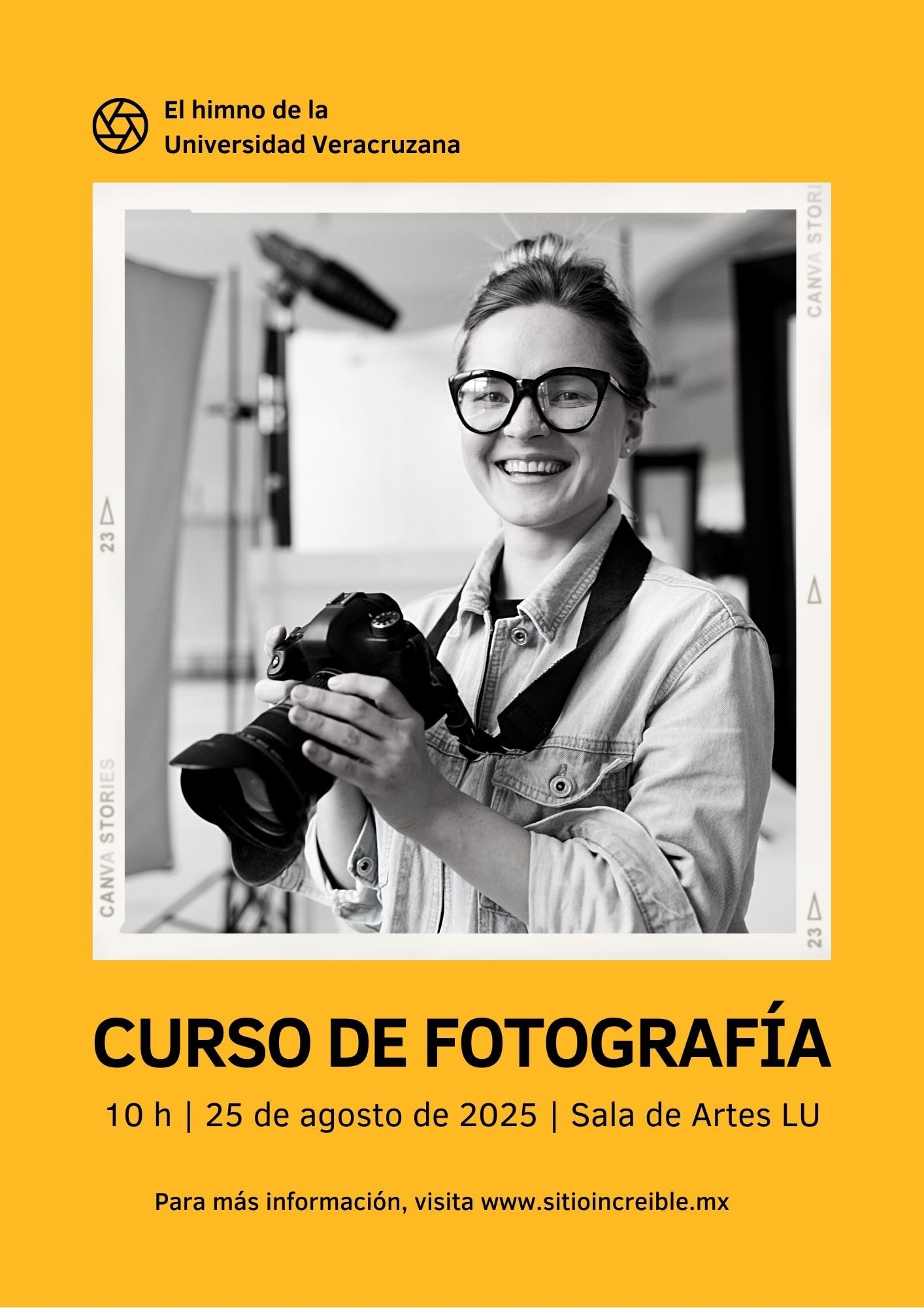 Amarillo Escala de Grises Simple Negrita Fotografía Promoción de Mi Club Escolar Volante
