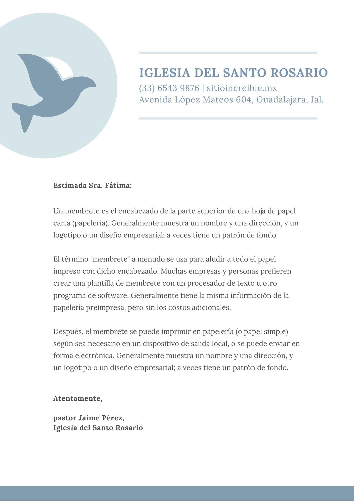Blanco Azul Paloma Vector Con Azul Puntos Lunares Iglesia Membrete (MX)