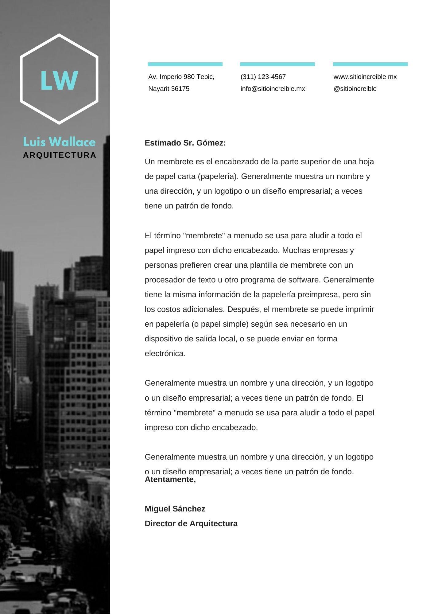 Azul Foto Arquitectura Oficial Membrete
