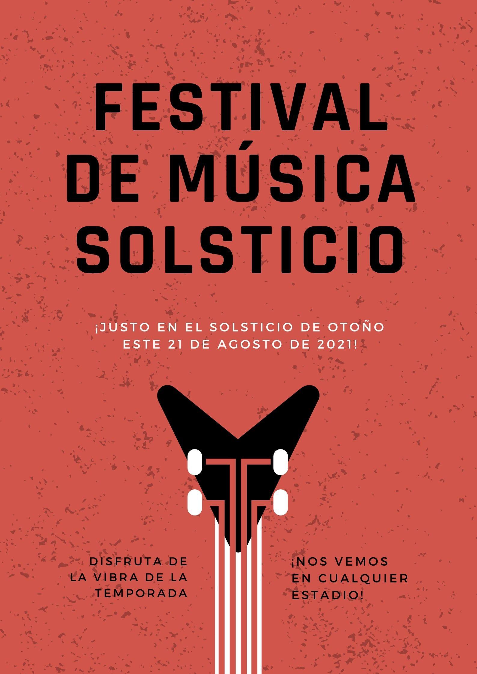 Rojo Guitarra Grunge Moderno Rock Música Evento Póster