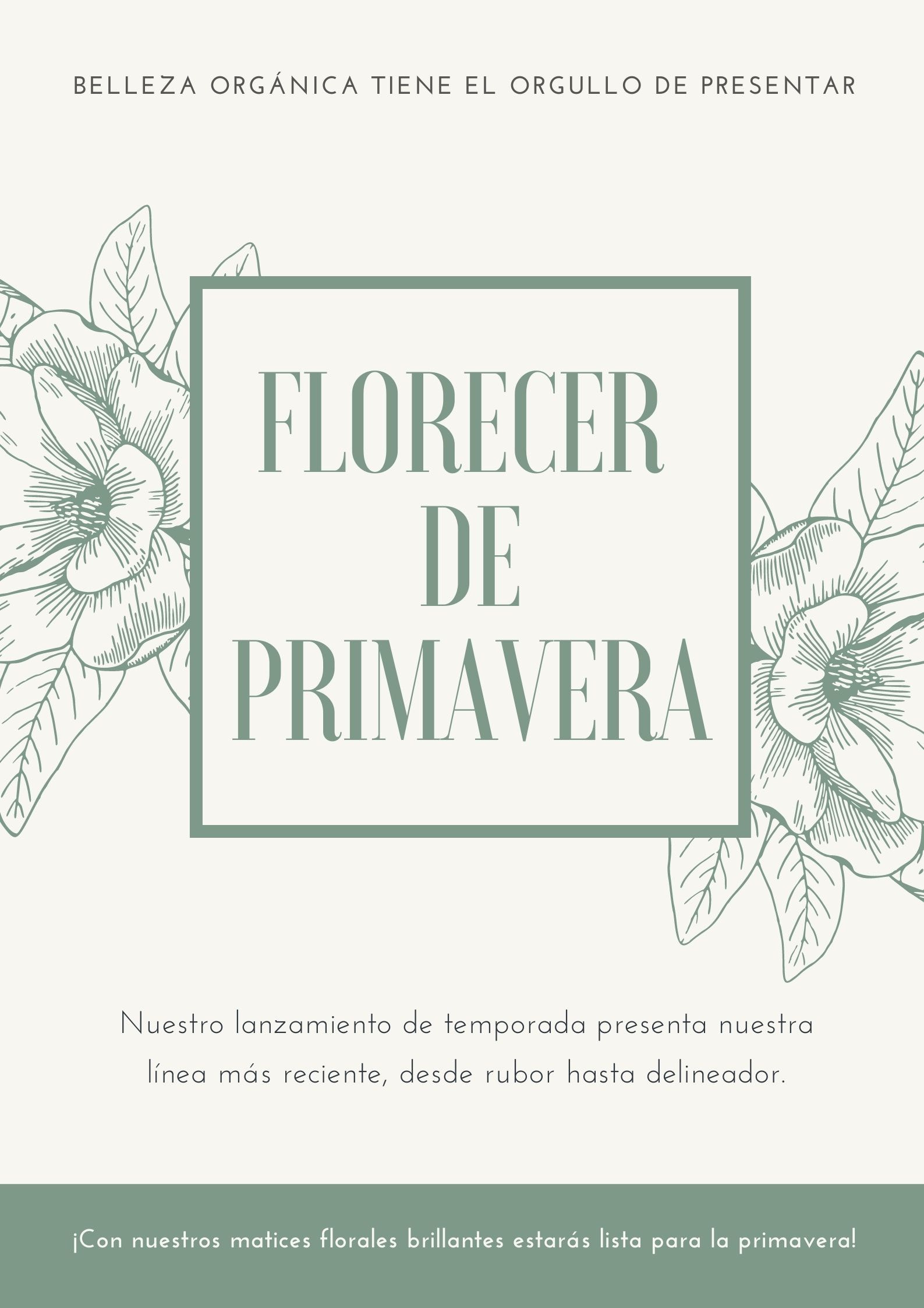 Póster de maquillaje y belleza orgánica ilustrado con flores en verde