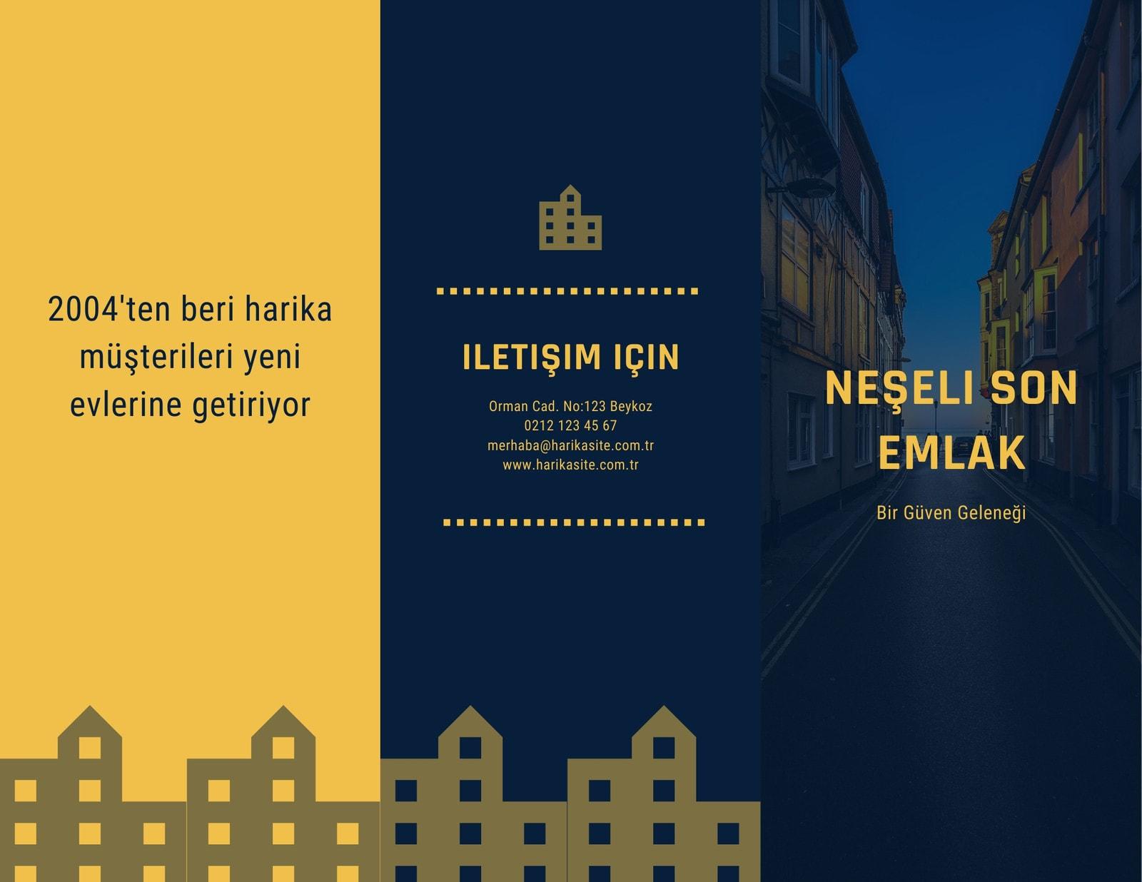 Koyu Mavi ve Sarı Evler Emlak Üç Katlı Broşür