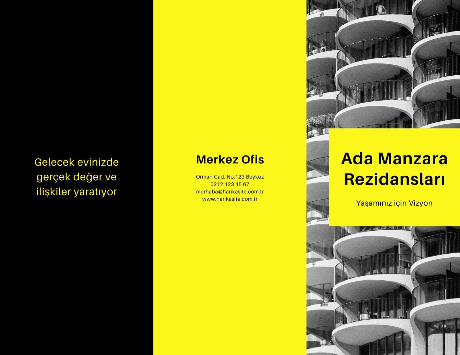 Sarı ve Siyah Emlak Üç Katlı Broşür