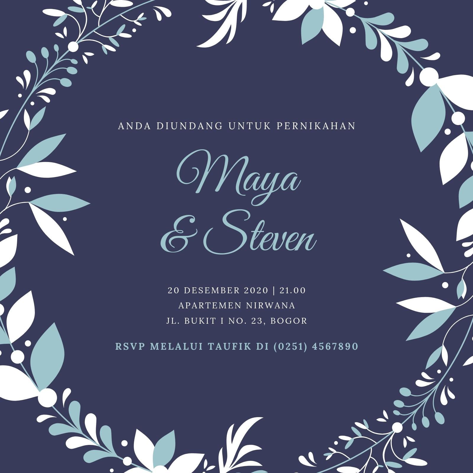Ungu Karangan Bunga Pernikahan Musim Penghujan Undangan