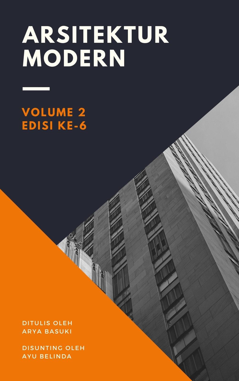 Sampul Buku Segitiga Arsitektur Modern Oranye dan Ungu Tua