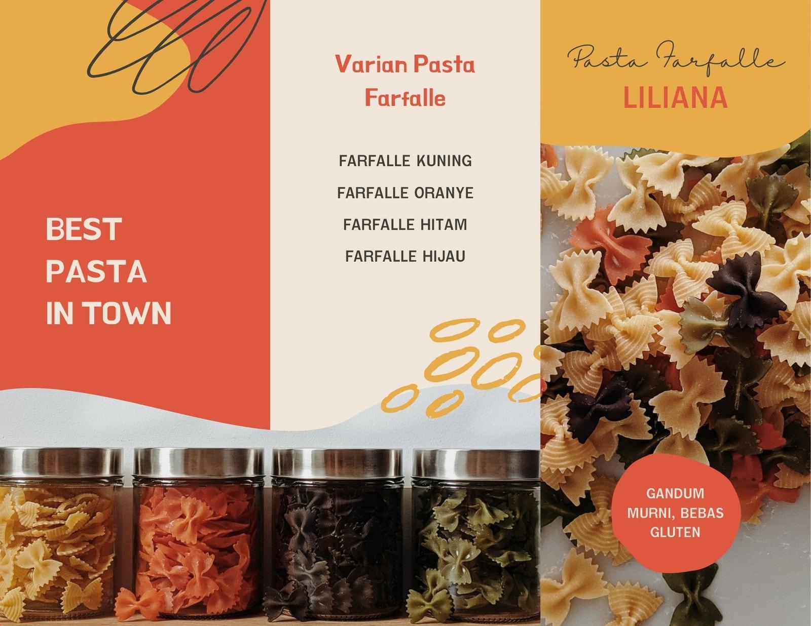 Brosur Daftar Harga Makanan Pasta Farfalle Warna Warni