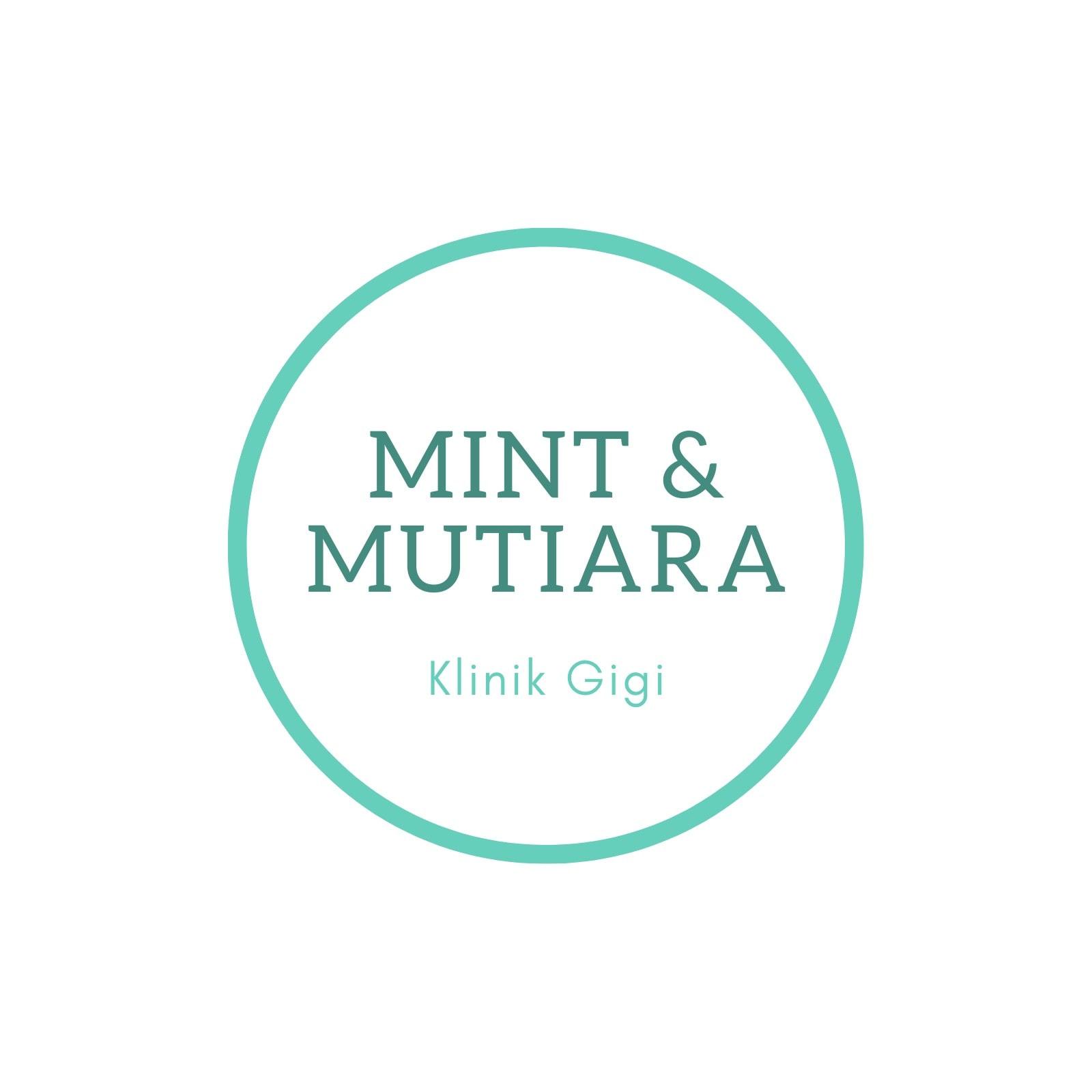 Putih dengan Hijau Mint Bulat Dental Logo