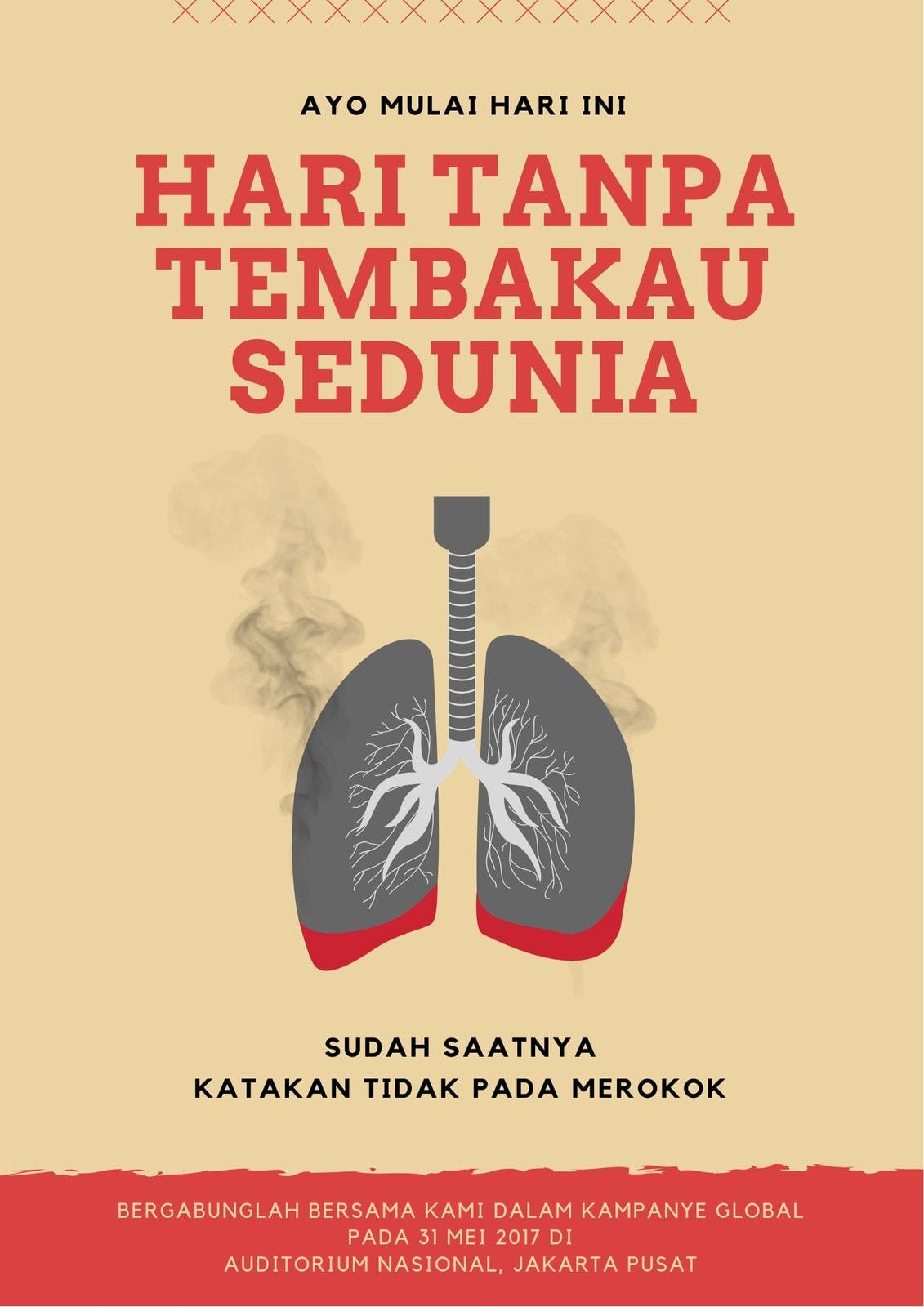 Merah dan Kuning Hari Tanpa Tembakau Sedunia Poster