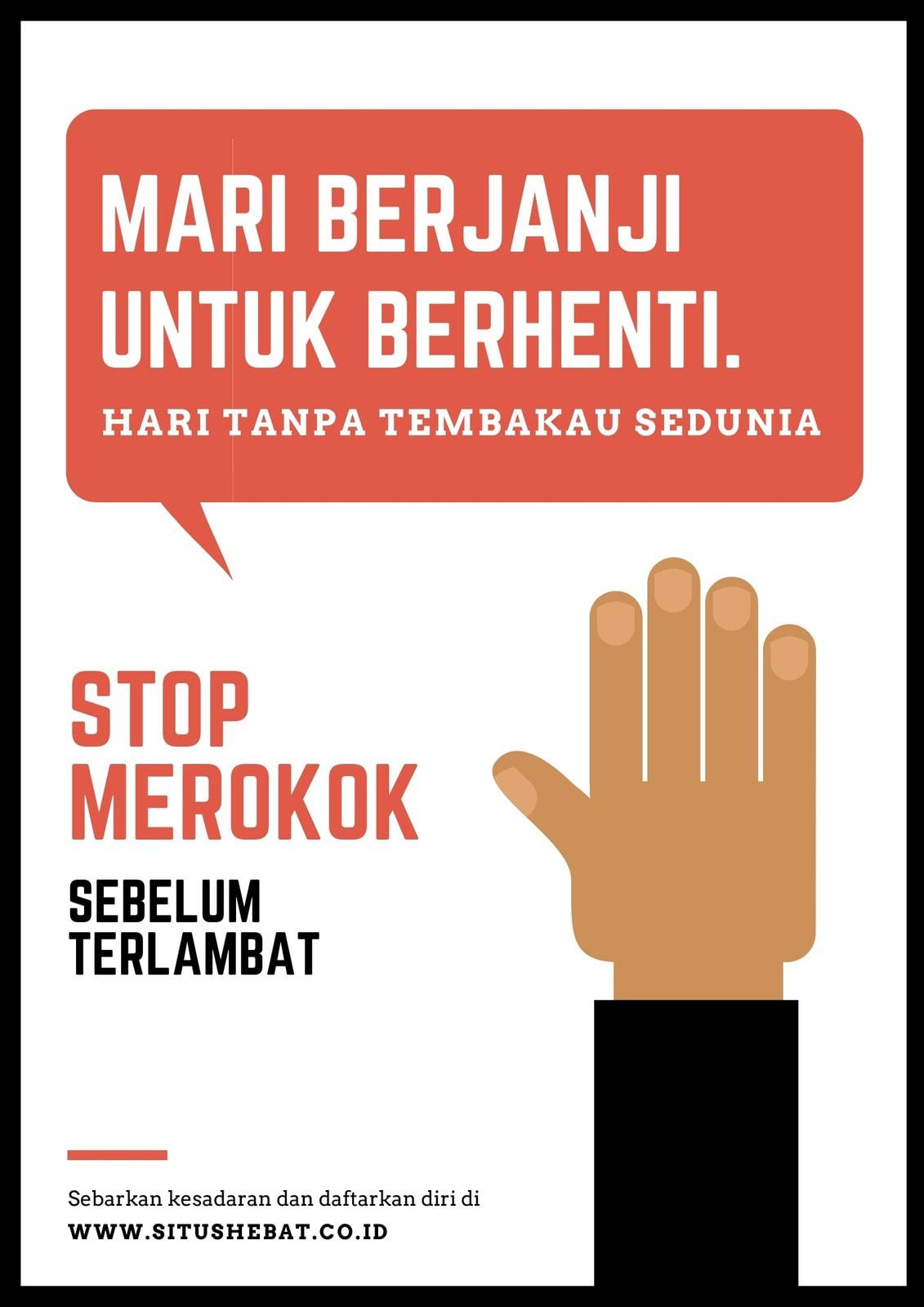 Poster Hari Tanpa Tembakau Sedunia Angkat Tangan Merah dan Hitam