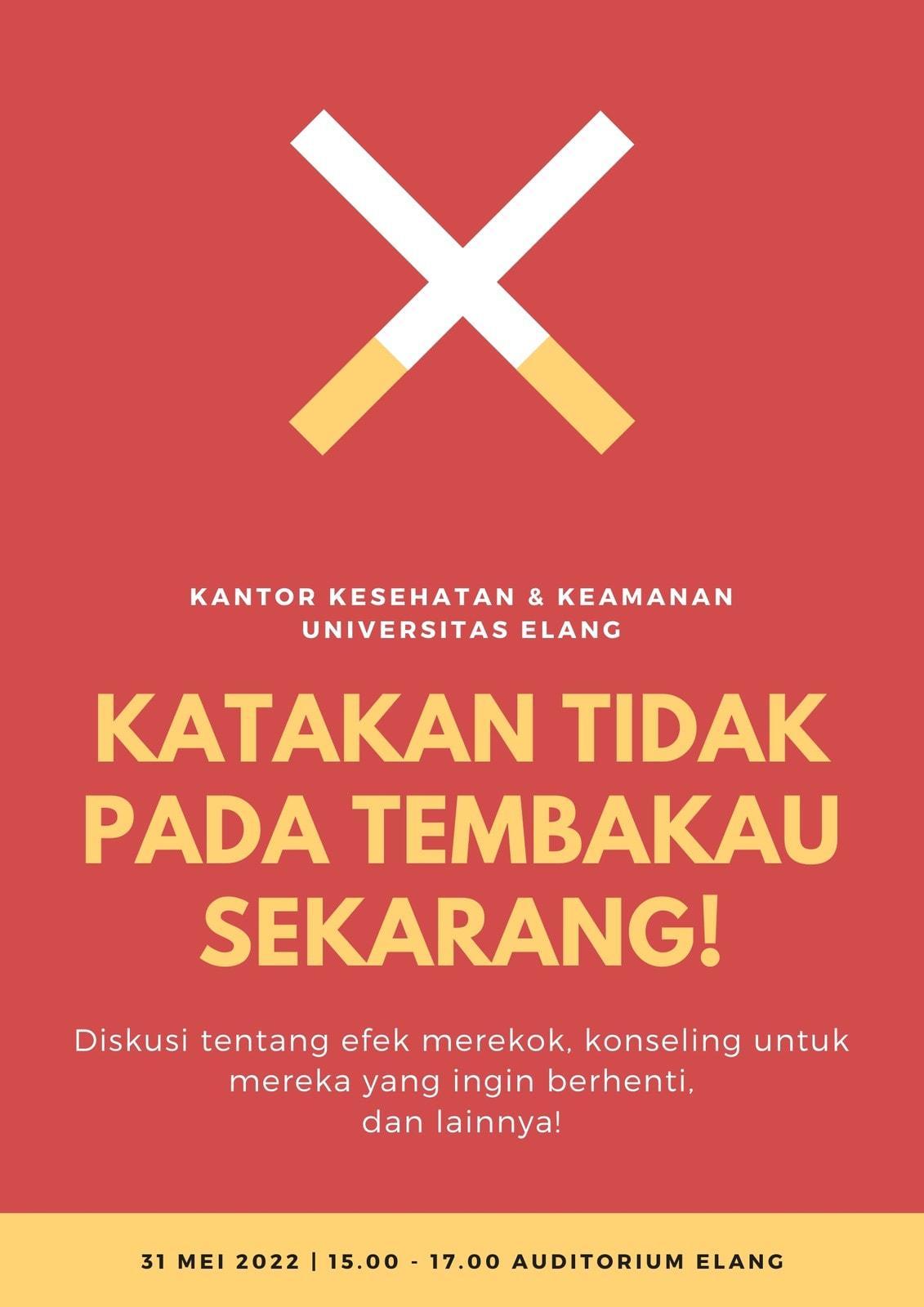 Merah Oranye Hari Tanpa Tembakau Sedunia Poster