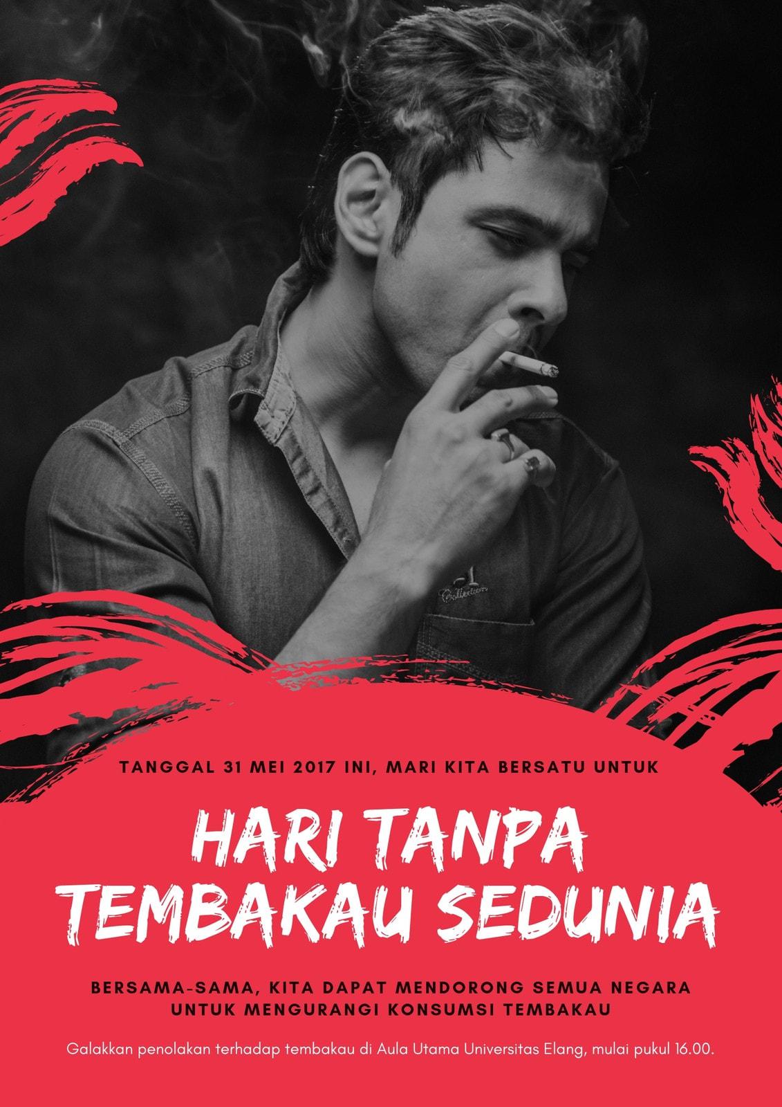 Merah Perokok Foto Hari Tanpa Tembakau Sedunia Poster