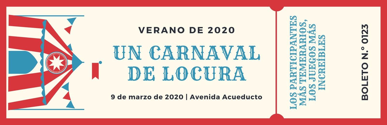 Rojo Crema Carnaval Ilustrado Boleto