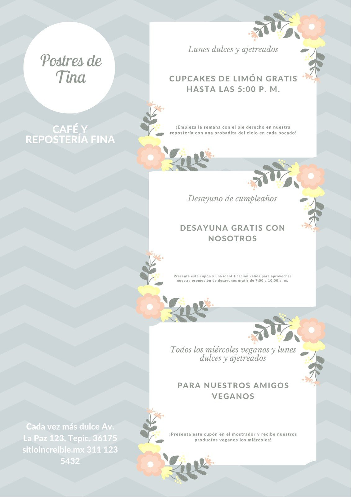 Pastel Flores Postre Cupón