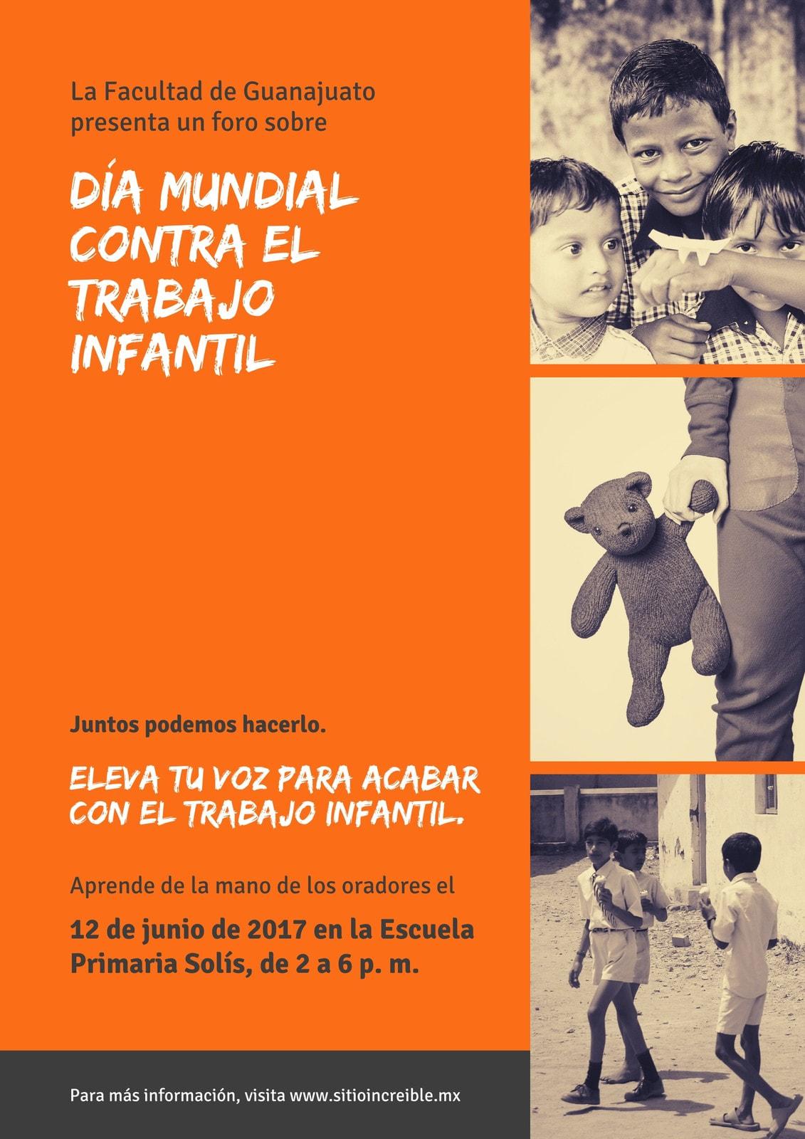 Naranja Vintage Día Mundial contra el Trabajo Infantil Póster