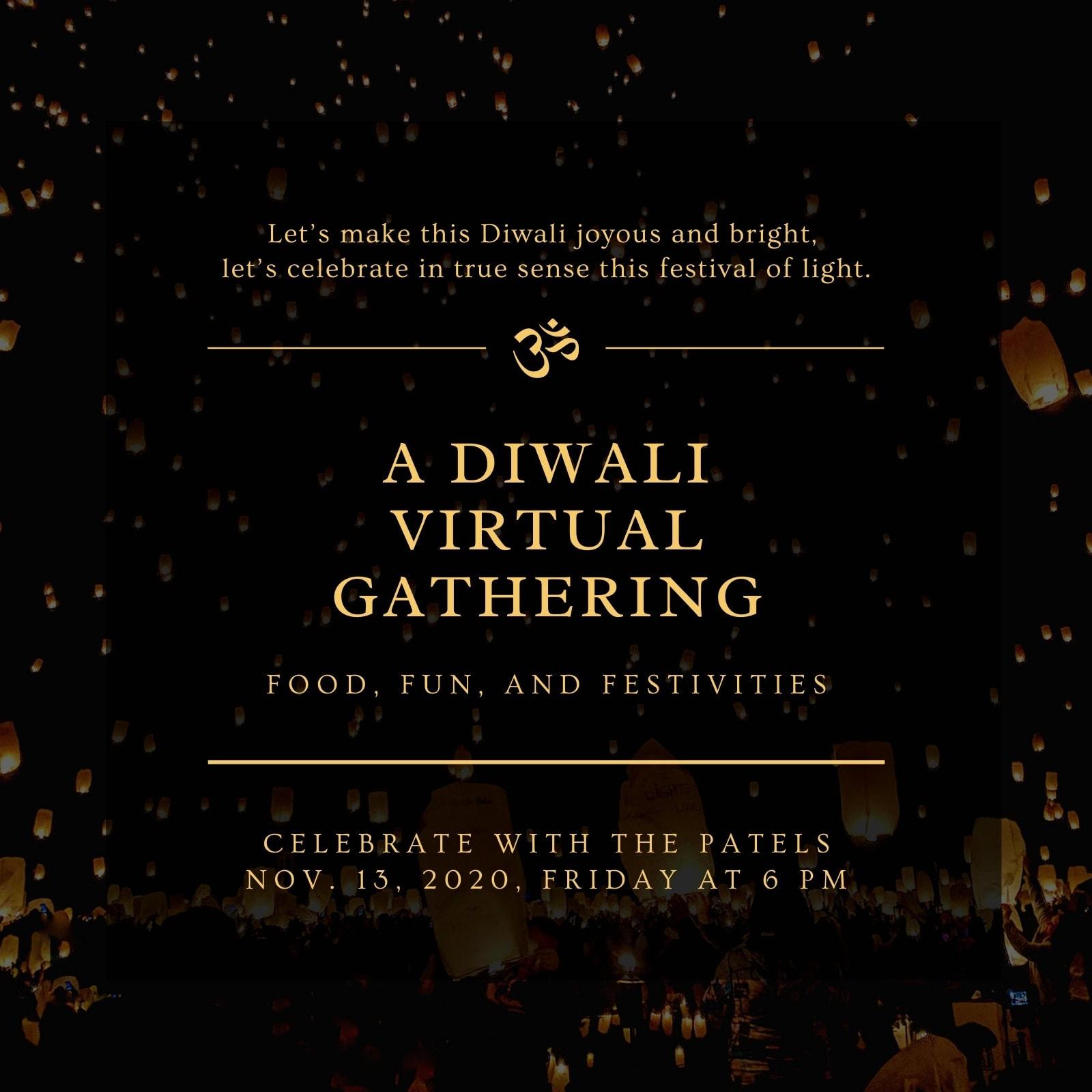 Gold and Black Modern Elegant Diwali Invite
