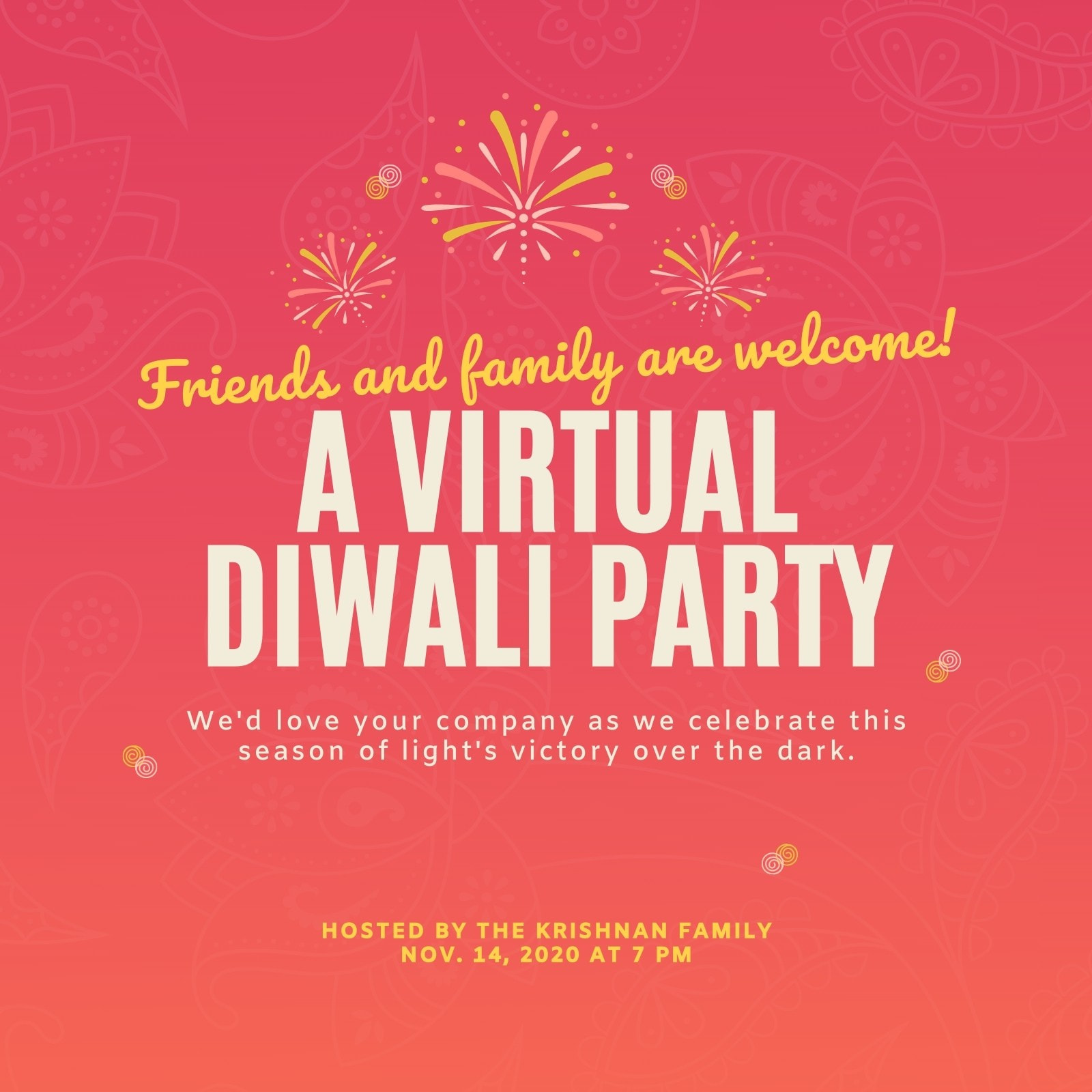 Red and Yellow Fireworks Diwali Invite