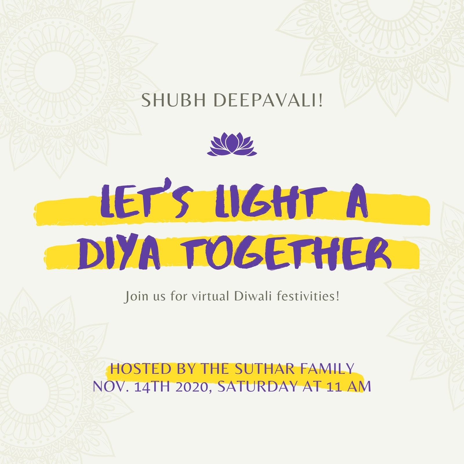 Purple and Yellow Minimal Playful Diwali Folded Card