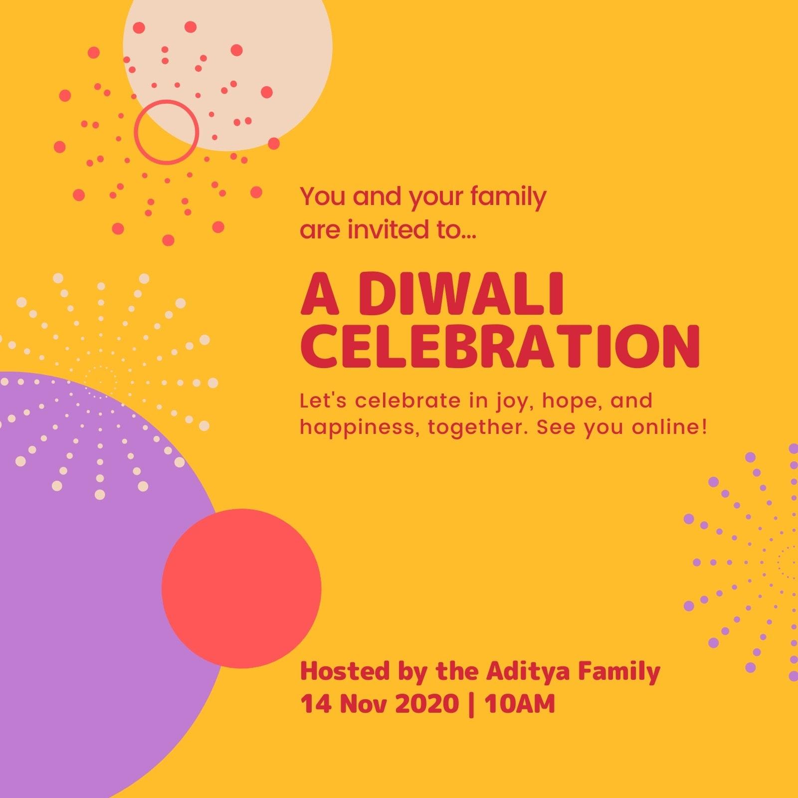Red and Yellow Minimal Happy Deepavali Invite