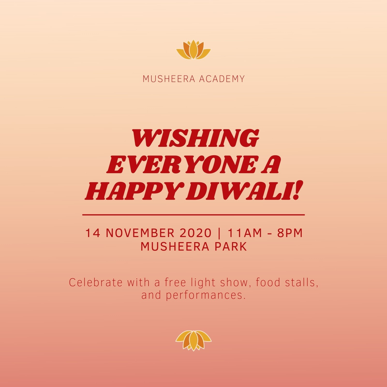 Yellow and Red Gradient Minimal Happy Diwali Folded Card