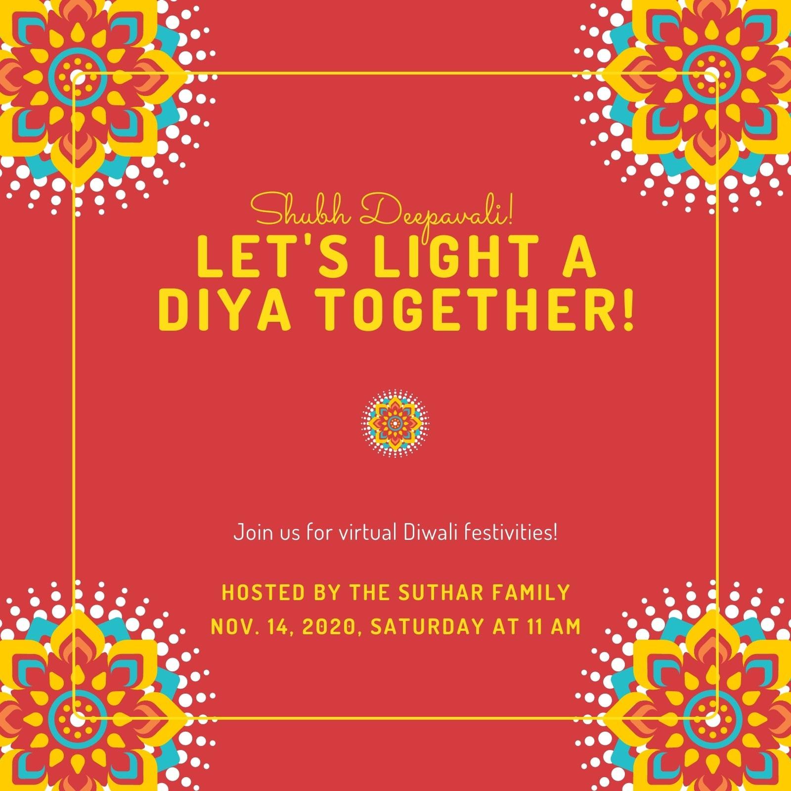 Red and Yellow Diwali Night Invite
