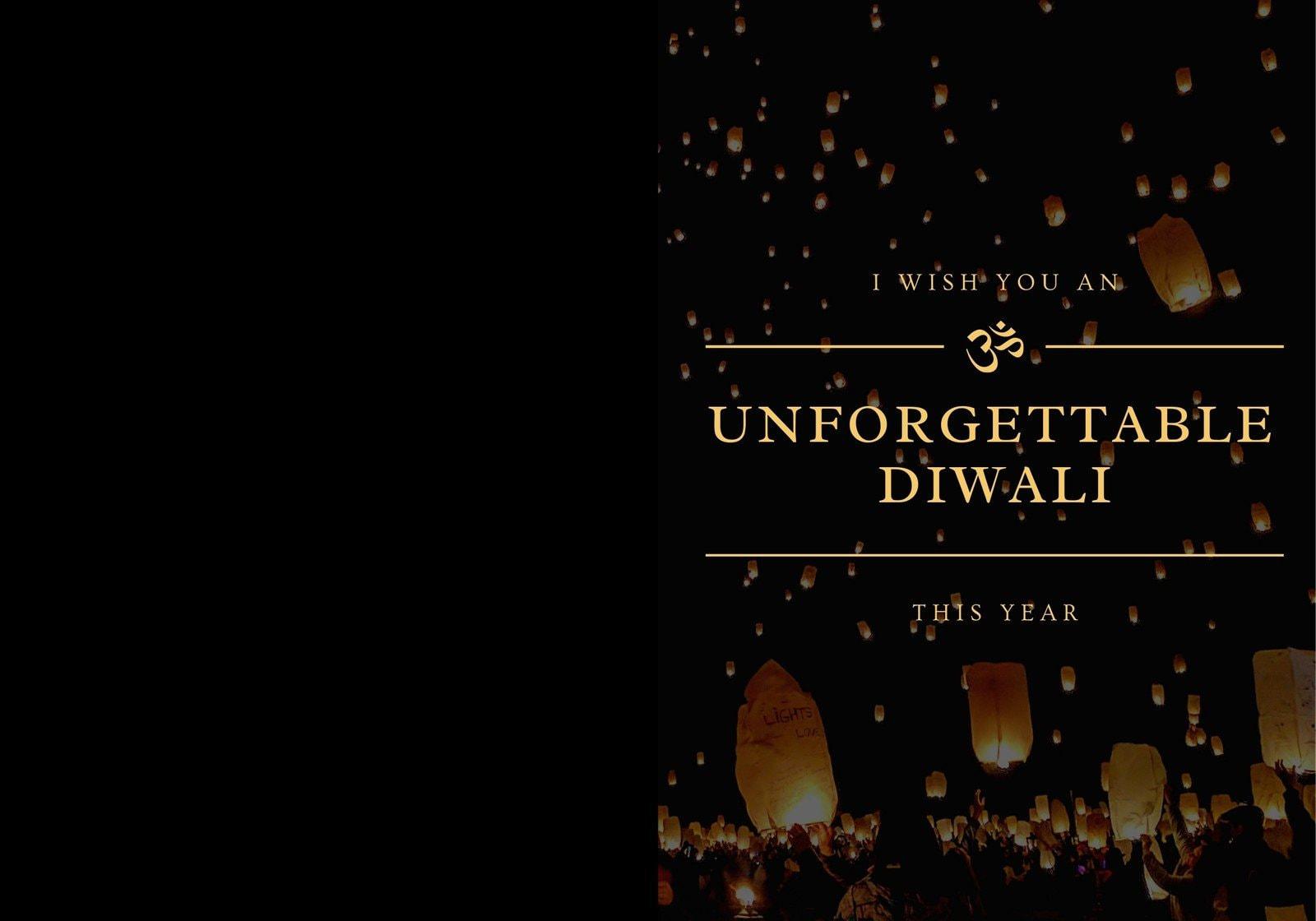 Gold and Black Modern Elegant Diwali Folded Card