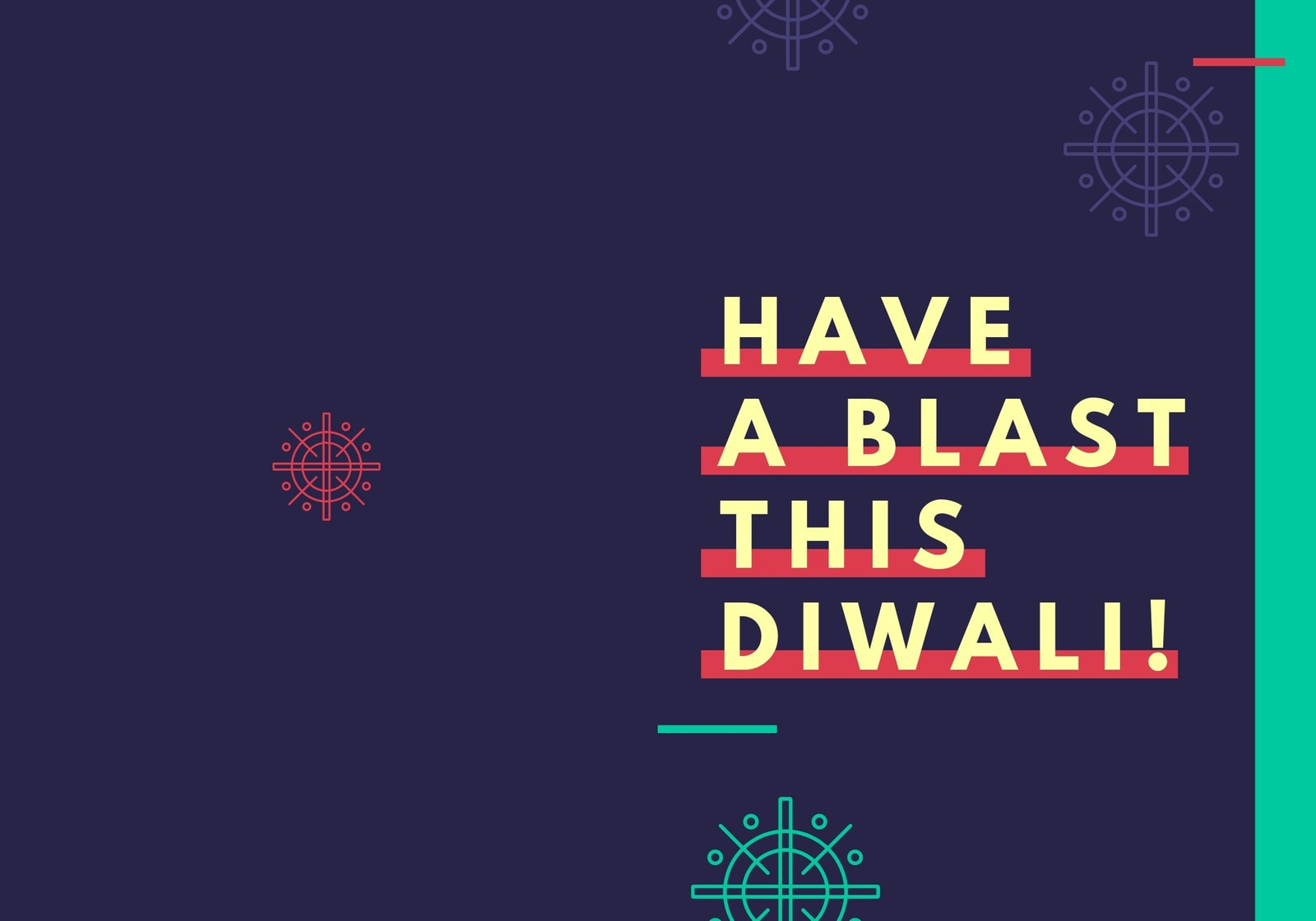 Navy Blue, Red and Teal Diwali Event Folded Card