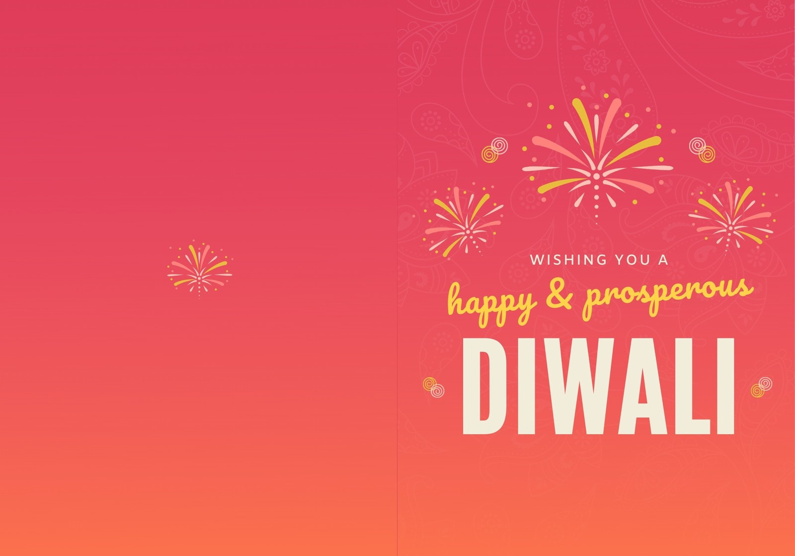 Red and Yellow Fireworks Diwali Folded Card