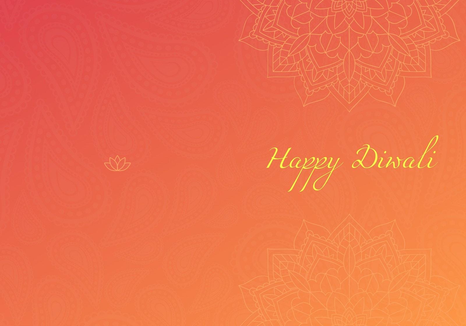 Red and Orange Gradient Mandala Diwali Greeting Folded Card