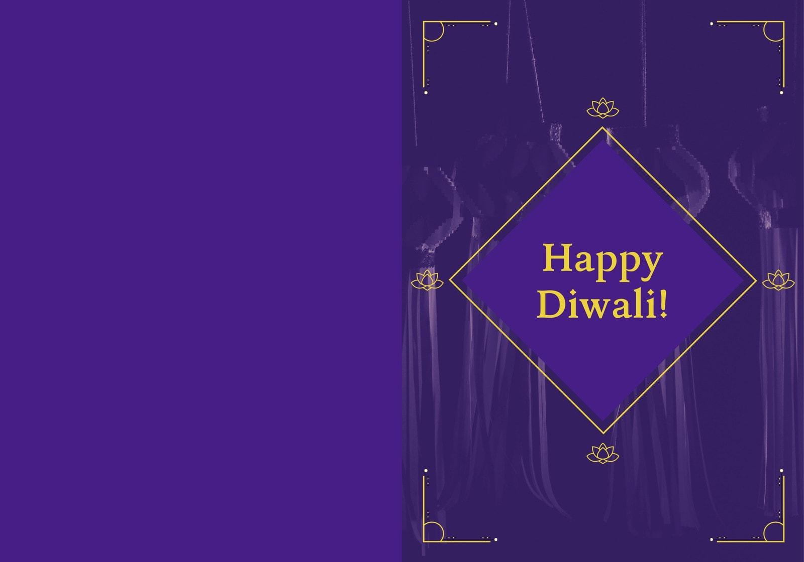 Purple and Yellow Minimal Diwali Folded Card