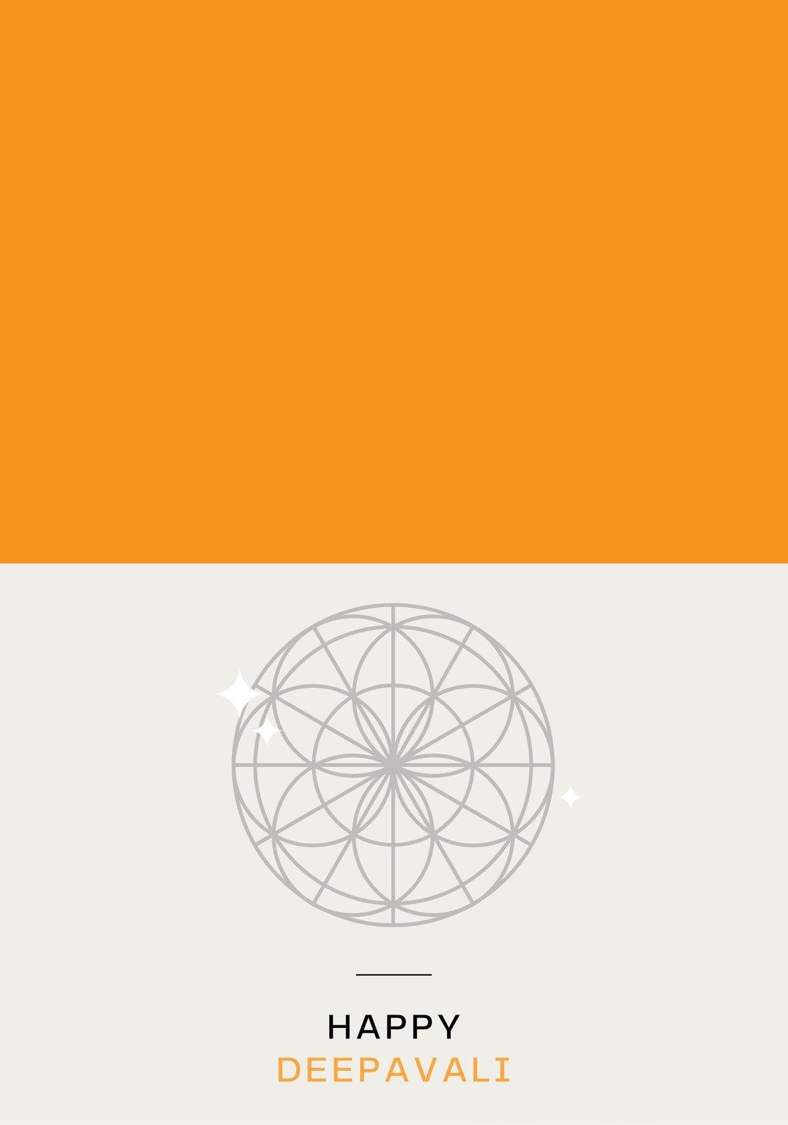 Orange and Ivory Geometric Flower Minimalist Diwali Folded Card