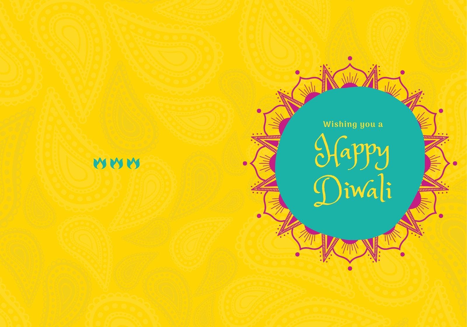 Yellow, Pink and Teal Minimal Diwali Folded Card