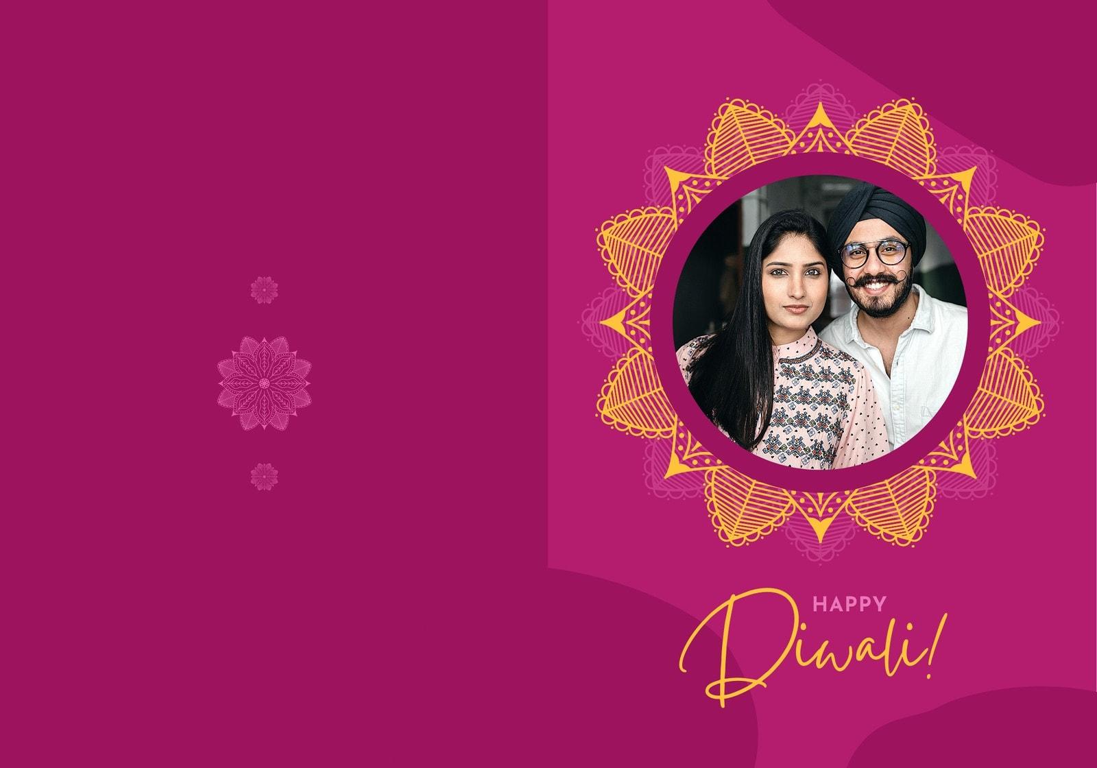 Magenta and Orange Couple Mandala Diwali Folded Card