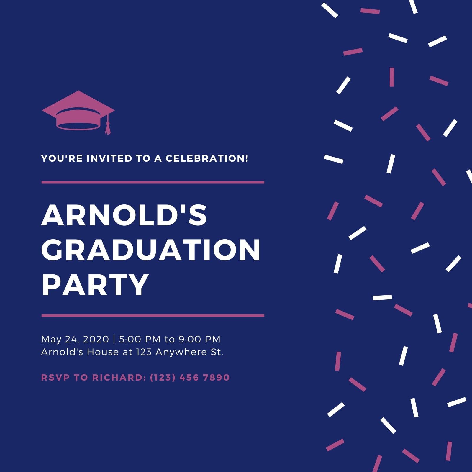 Blue and Maroon Confetti Graduation Party Invitation
