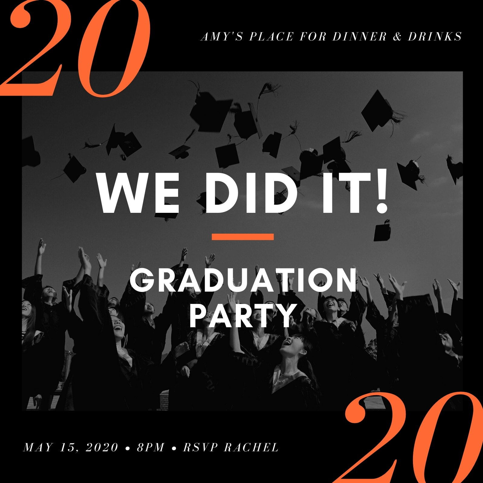 Orange and Black Modern Minimalist Graduation Invitation