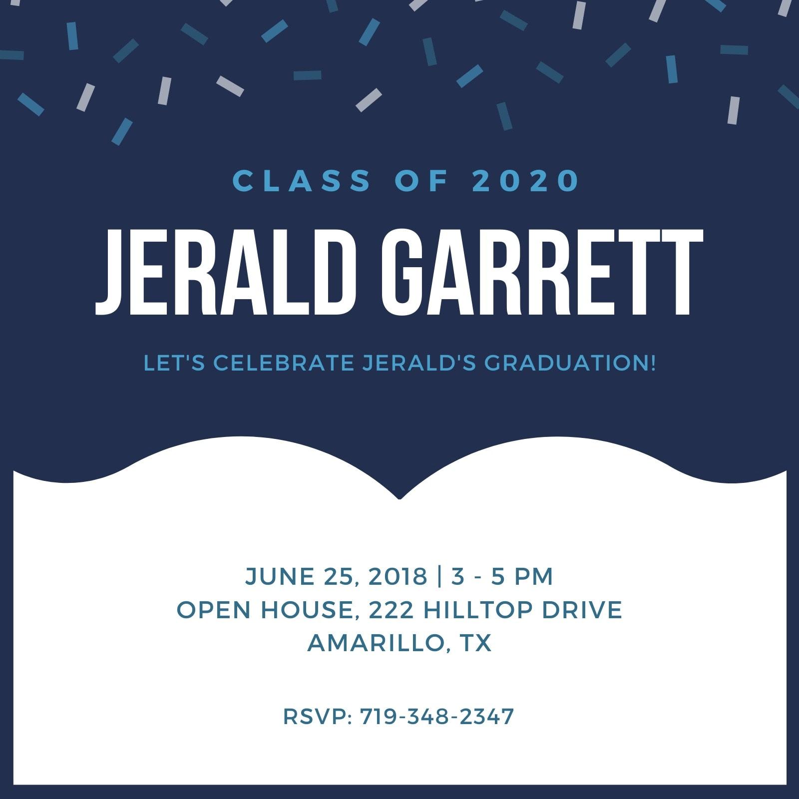 Confetti Blue Graduation Invitation
