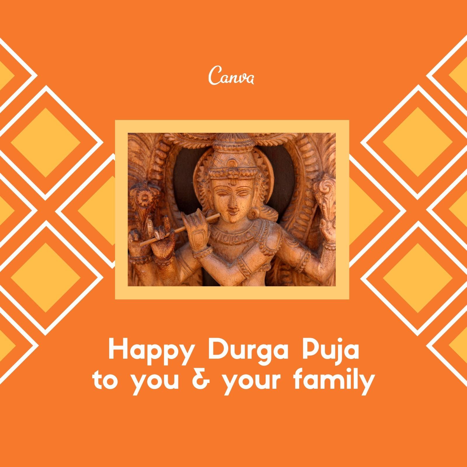 Orange White Yellow Pattern Durga Puja Instagram Post