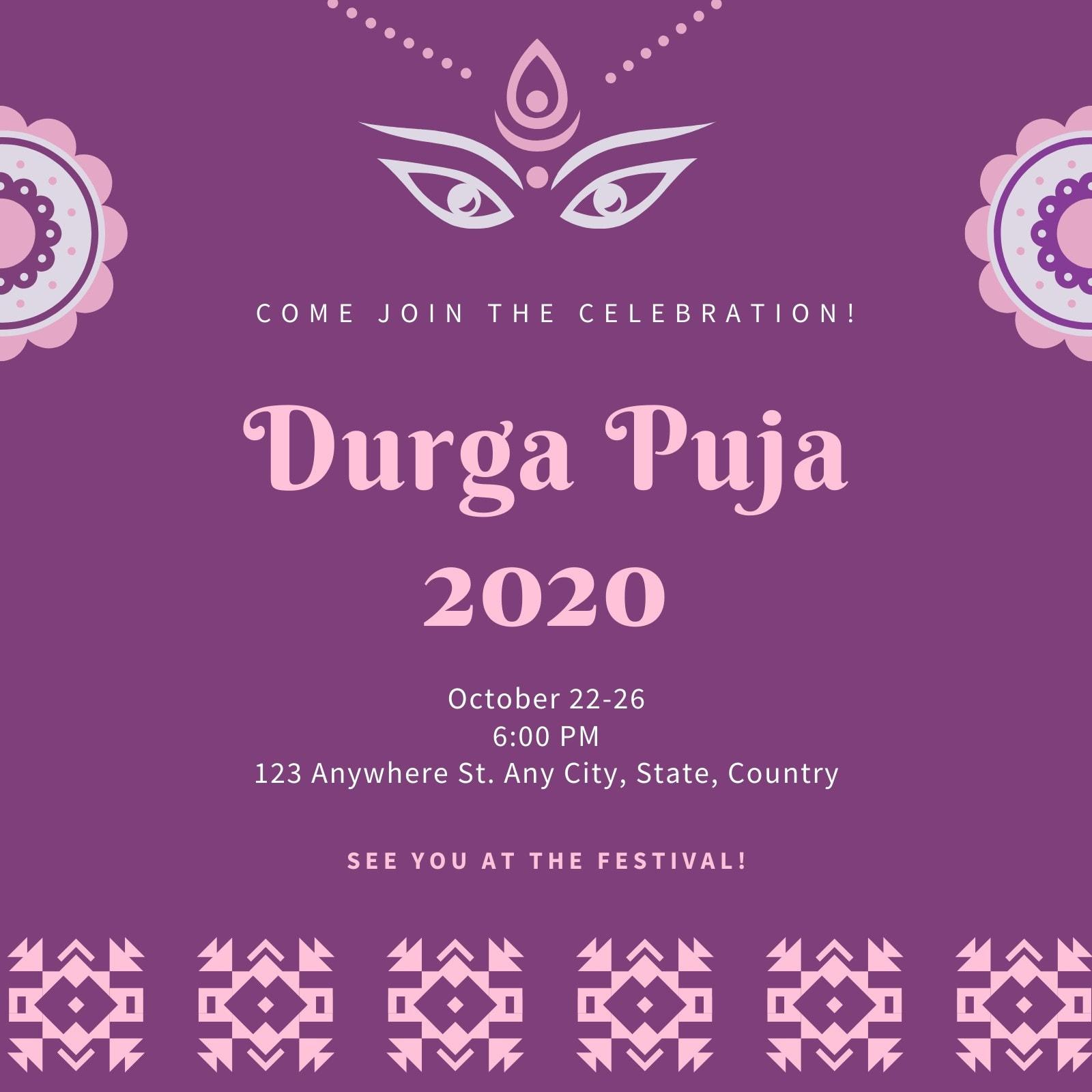 Purple Durga Puja Invitation
