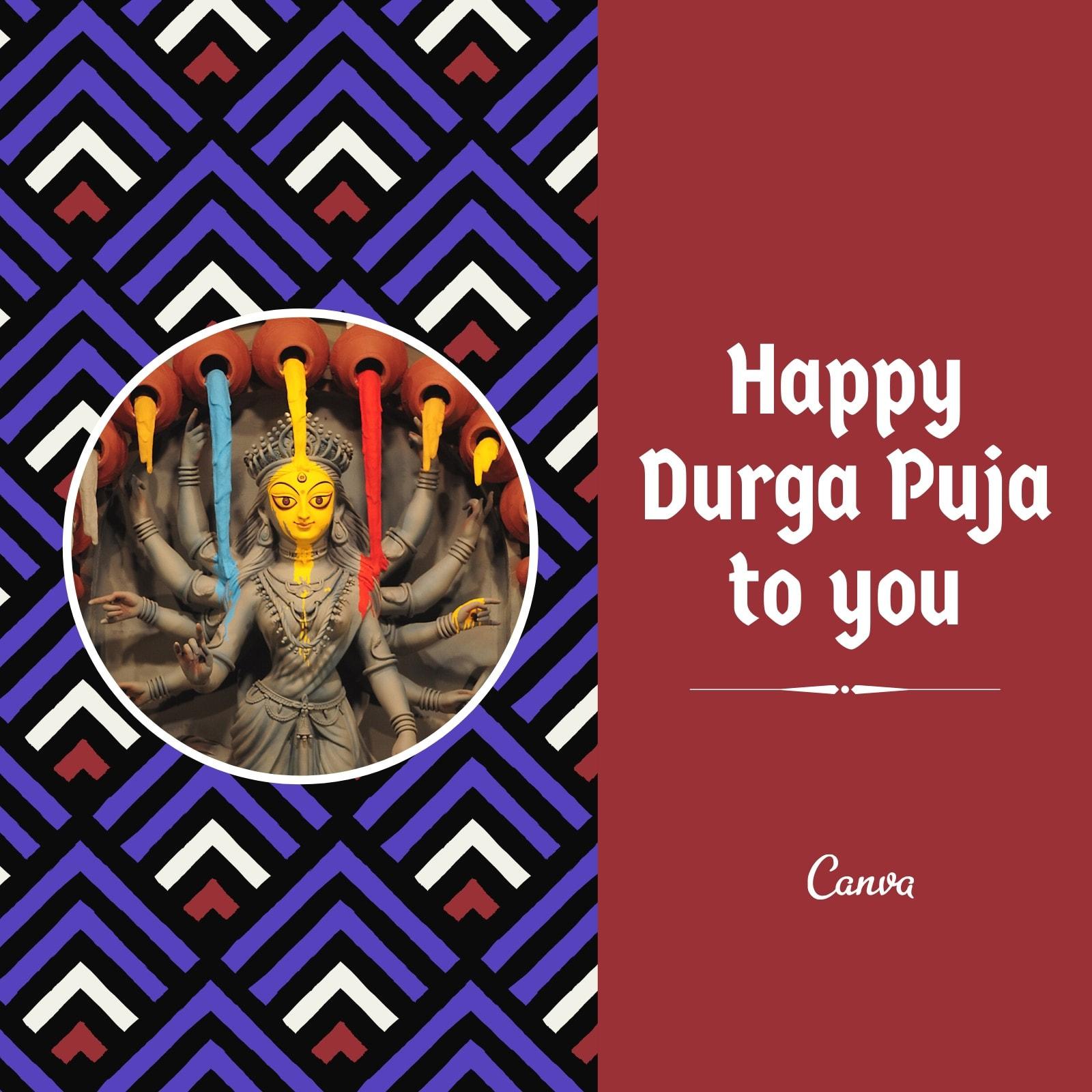 Maroon Lavander White Arrow Pattern Goddess Durga Puja Instagram Post