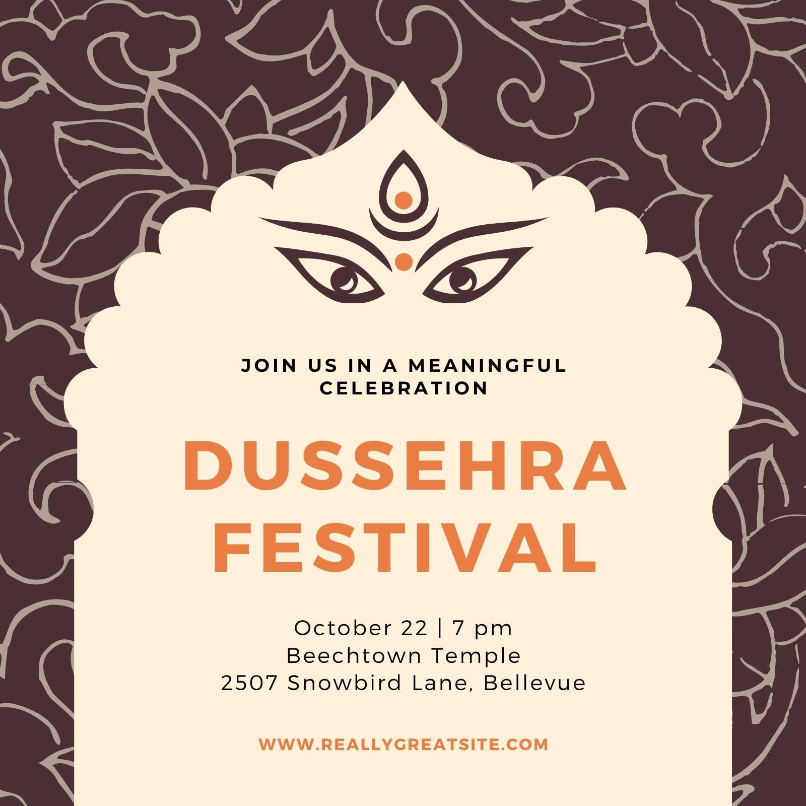 Brown Illustrated Durga Puja Invitation