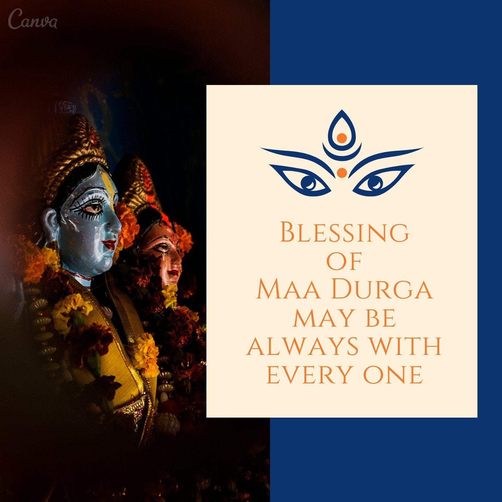 Blue Goddess Statue Durga Puja Instagram Post