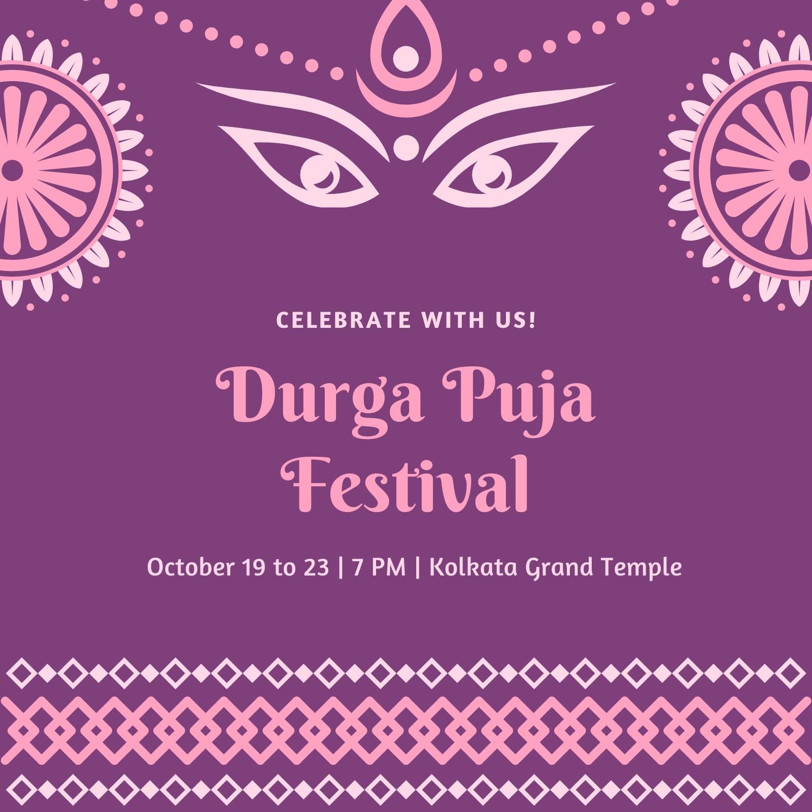 Pink and Purple Durga Puja Festival Instagram Post
