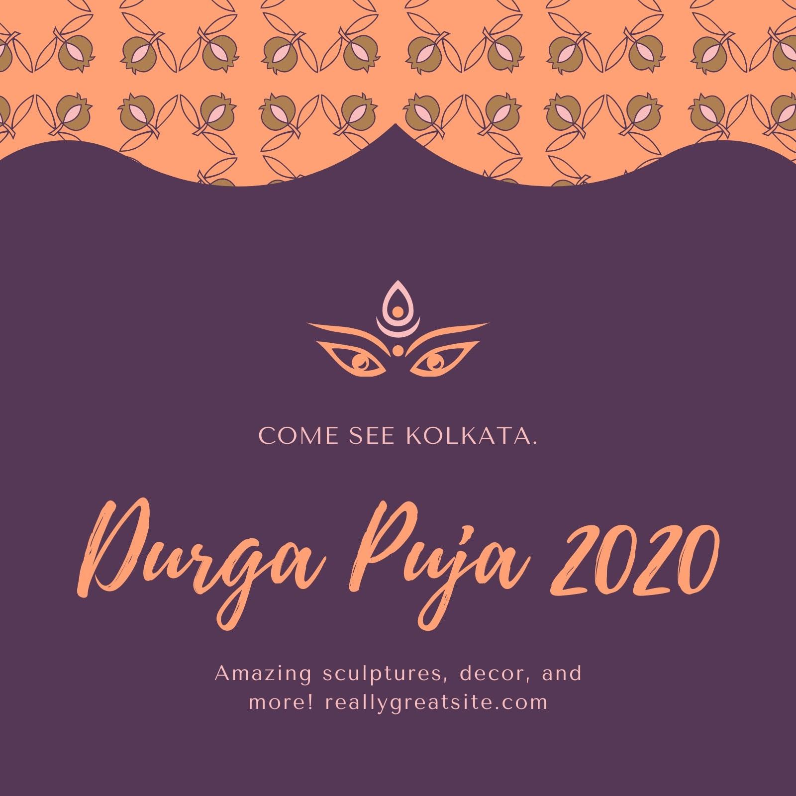Purple and Cream Durja Puja Social Media Graphics