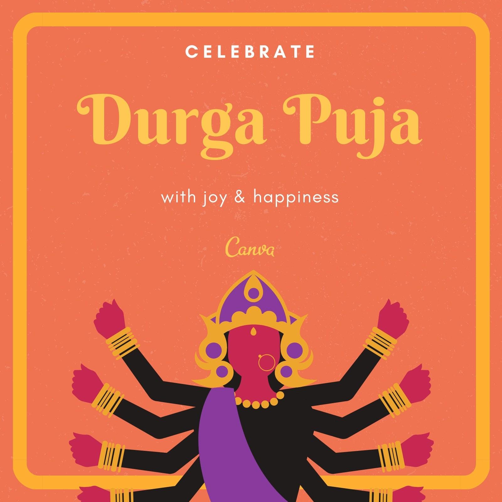 Orange Yellow Plain Durga Puja Instagram Post
